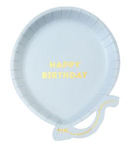"""12 assiettes ballons bleu ciel écriture """"Happy Birthday"""" dorée"""