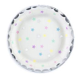 6 petites assiettes blanches étoiles pastels