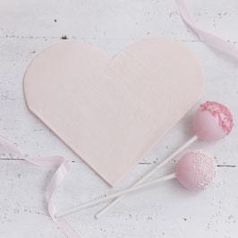 20 serviettes coeurs en papier rose pastel poudré