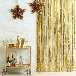 Rideau de franges doré brillant