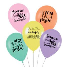 5 ballons anniversaire Arc en ciel