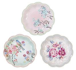 12 petites assiettes fleurs liberty pastels