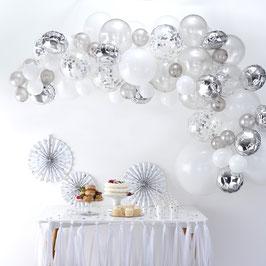 Kit Arche Ballons Argent et Blanc