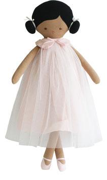 Poupée Lulu robe rose et blanche  Alimrose 48cms