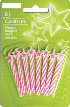 8 bougies étoiles coloris rose et blanc