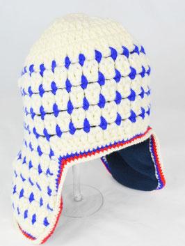 bonnet tricoté main ecru bleu kik kid