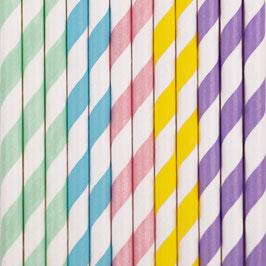 25 pailles en papier retros mélange pastel