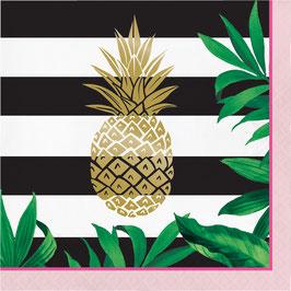 16 grandes serviettes rayées avec ananas doré