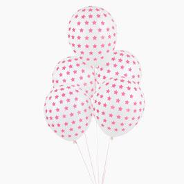 5 ballons blancs imprimés étoiles roses My little day