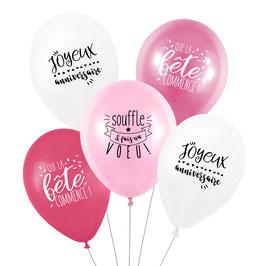 5 ballons anniversaire roses et blancs