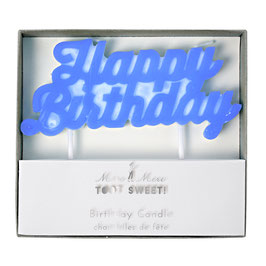 "Bougie anniversaire ""Happy Birthday"" bleu Meri Meri"
