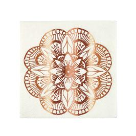 16 petites serviettes tatouages mandala rose gold meri meri