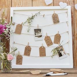 Tableau livre d'or en bois avec ficelles et pinces