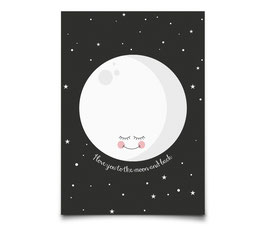 "Carte Lune fond noir ""I love you to the moon and back"" Eef Lillemor"