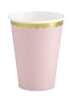 6 gobelets rose pastel bordure dorée