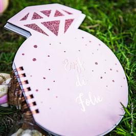 Carnet Evjf de Folie Diamant Rose Pastel avec Paillettes