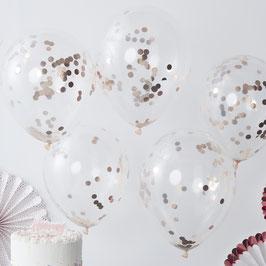 5 ballons transparents avec confettis rose gold à l'intérieur