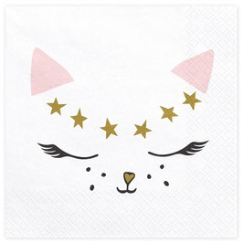 20 Grandes Serviettes Chat Rose et Or