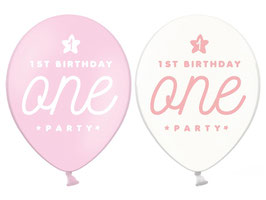 """6 ballons roses et transparents écriture """"One"""""""