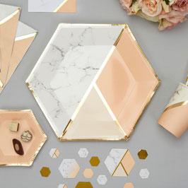 8 grandes assiettes effet marbre, pêche et or