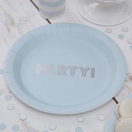 """8 assiettes bleu ciel avec écriture """"PARTY !"""" argent"""