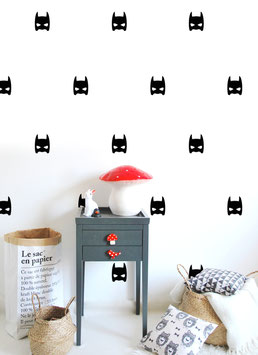 Stickers muraux masques super héros noirs Pom le bonhomme