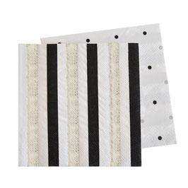 20 petites serviettes rayures et pois noirs et argent