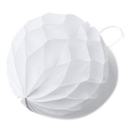 8 petites boules papier alvéolées blanches 10cms