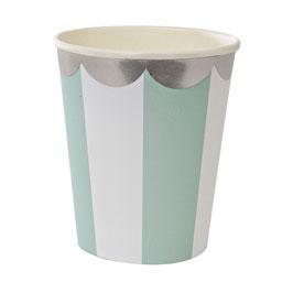 8 gobelets en carton rayés vert menthe et blanc Meri Meri