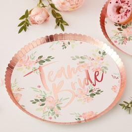 8 grandes assiettes EVJF fleurs bordure rose gold