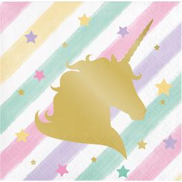 16 petites Serviettes pastels avec licorne dorée brillante