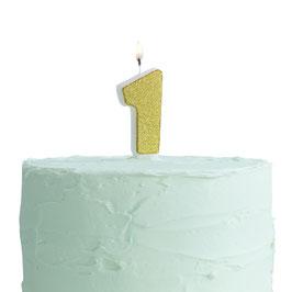 Bougie anniversaire chiffre doré contour blanc