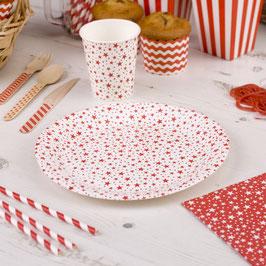 8 assiettes en carton étoiles rouges