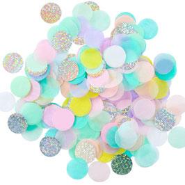Confettis de table pastels et irisés