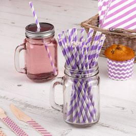 25 Pailles en papier retros à rayures lilas et blanches