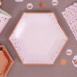 8 Petites assiettes rose pastel étoiles rose gold