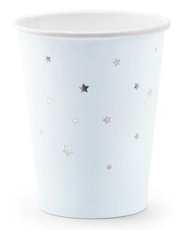 6 Gobelets Bleu Pastel Etoiles Argent