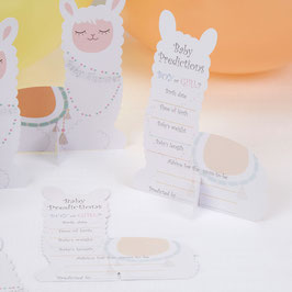 10 Cartes de Prédiction Baby Shower Lama Pastel