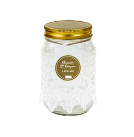 Pot en verre esprit mason jar avec dentelle blanche