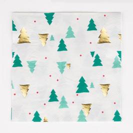 16 serviettes en papier sapins de Noel