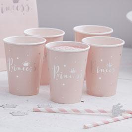 """8 gobelets rose pastel poudré écriture """"Princess"""" argent"""