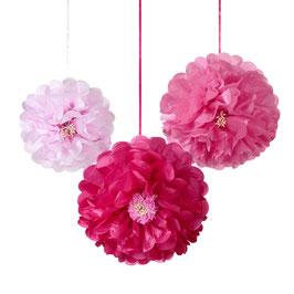 3 Pompons fleurs roses en papier de soie