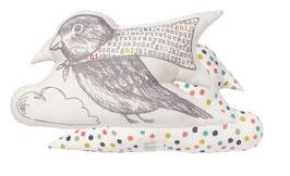"Coussin ""Oiseau alphabet"""