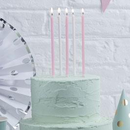 24 longues bougies roses et blanches avec paillettes