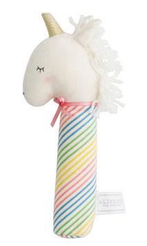 Hochet licorne Yvette corne argent tissu rayures multicolores Alimrose