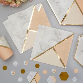 16 serviettes effet marbre, pêche et doré