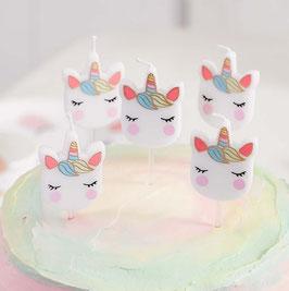 5 Bougies Têtes de Licorne Pastels