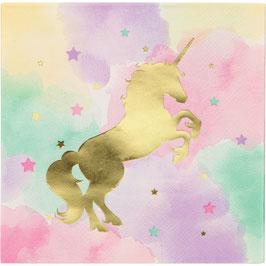 16 grandes Serviettes pastels avec licorne dorée brillante
