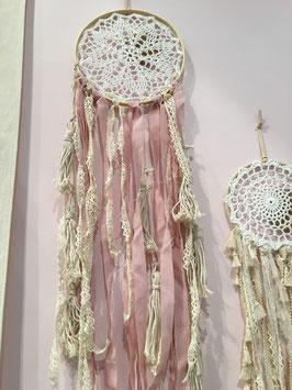 Attrape rêves macramé ivoire et vieux rose 80cms