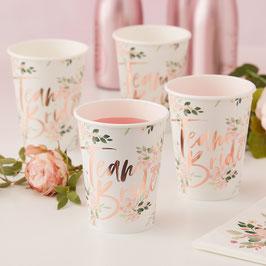 "8 gobelets EVJF fleurs ""Team Bride"" rose gold"